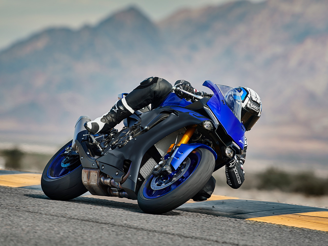 Yamaha YZF-R1 motorcycle riding on the road