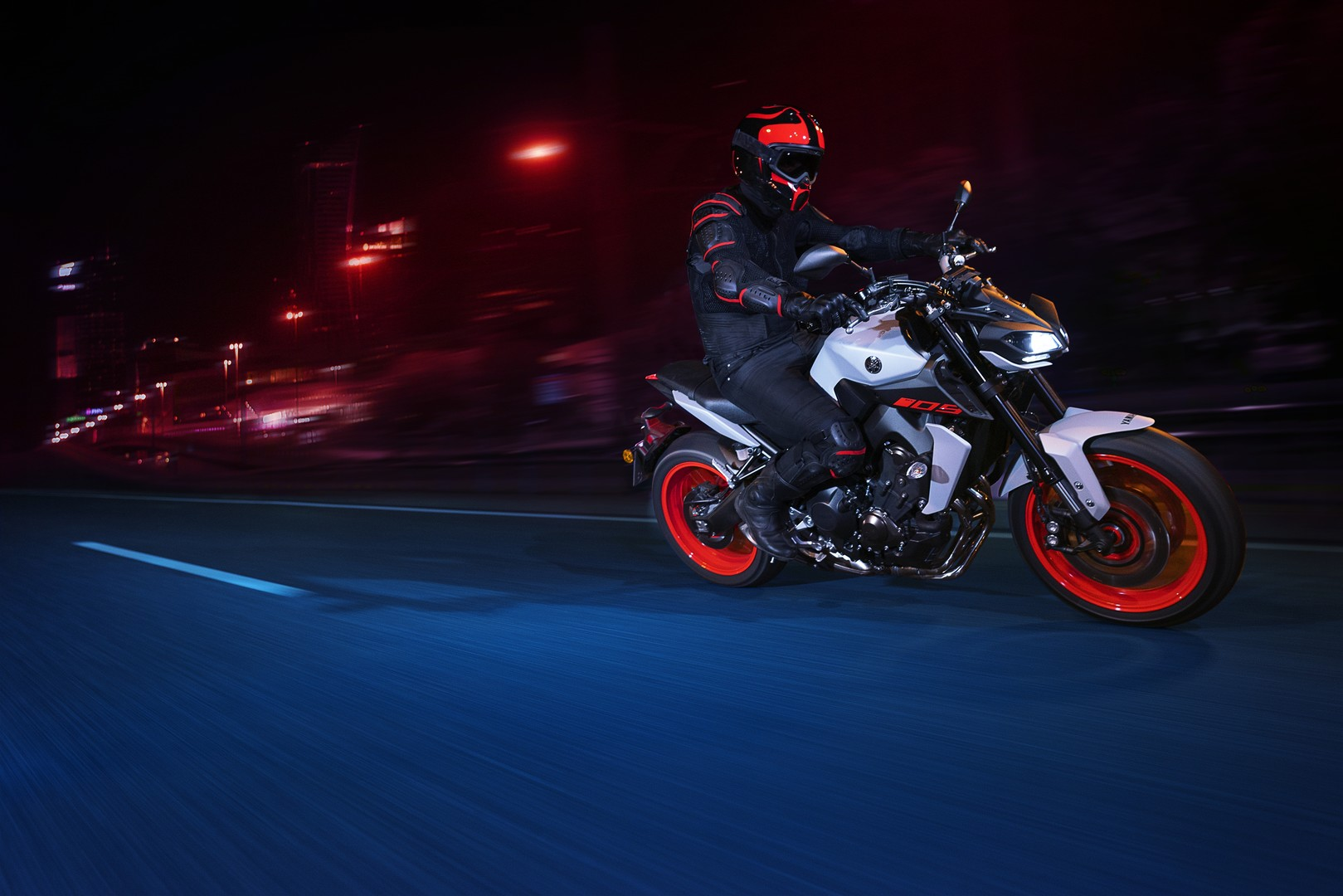 Yamaha MT-09 in Ice Fluo colour, on the street