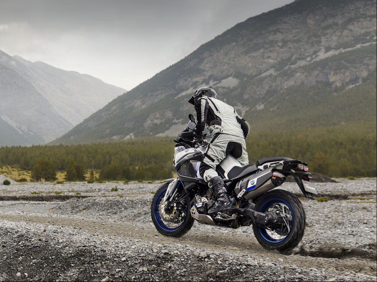 Yamaha XT1200Z in Race Blue colour, being ridden off-track