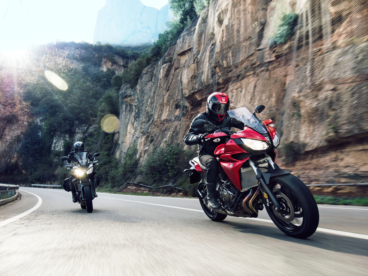 Yamaha Tracer 700motorcycle riding on the hill road