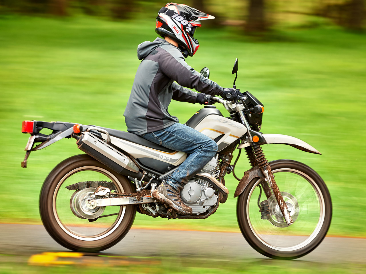 Yamaha XT250 motorcycle riding on dirt track