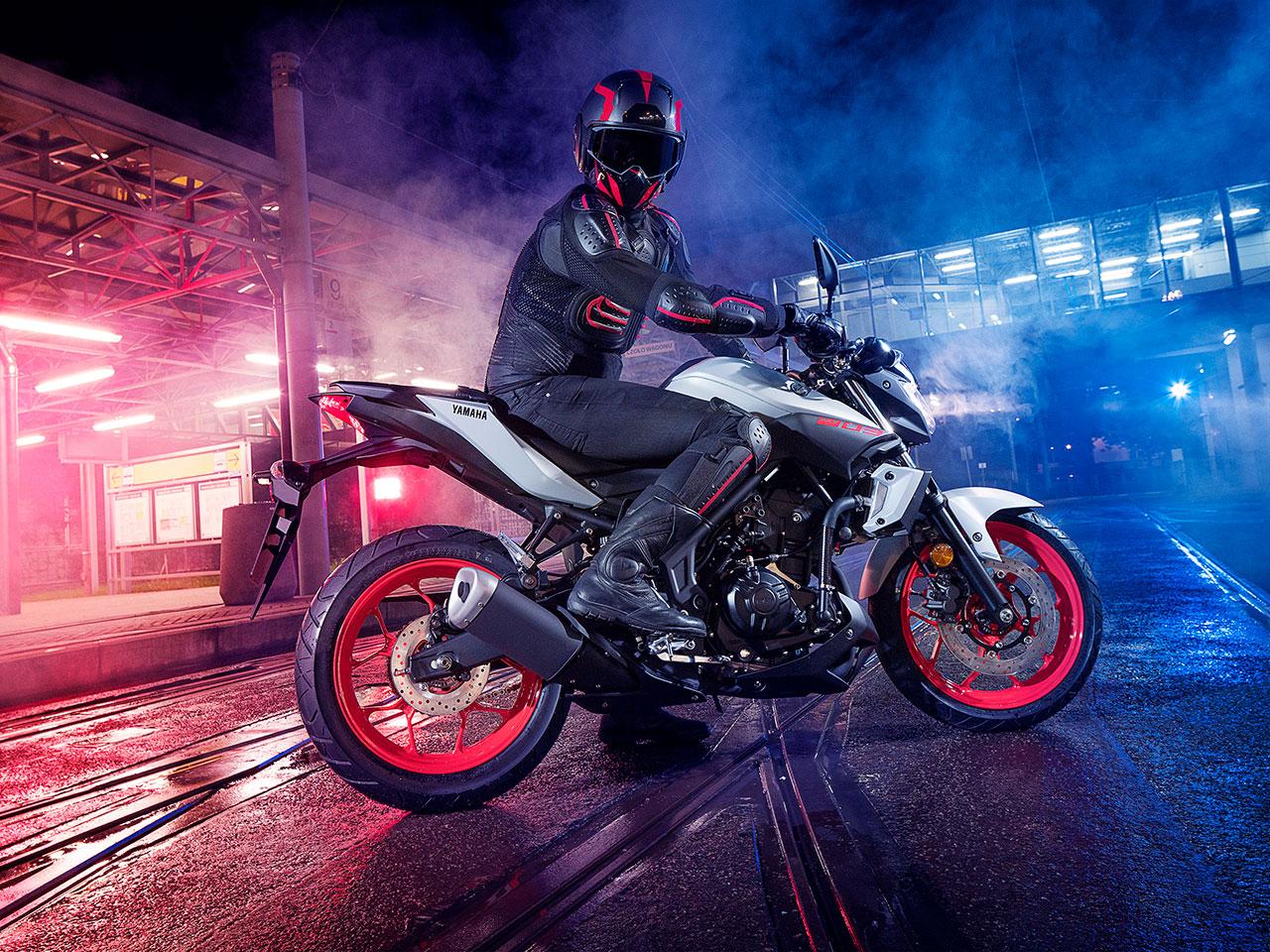Yamaha MT-03 2019 in Ice Fluo colour with a rider