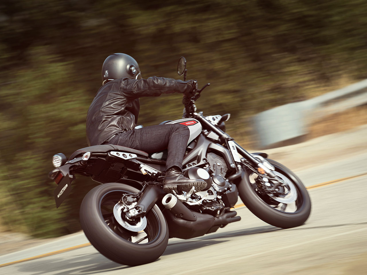 Yamaha XSR900 motorcycle riding on the road