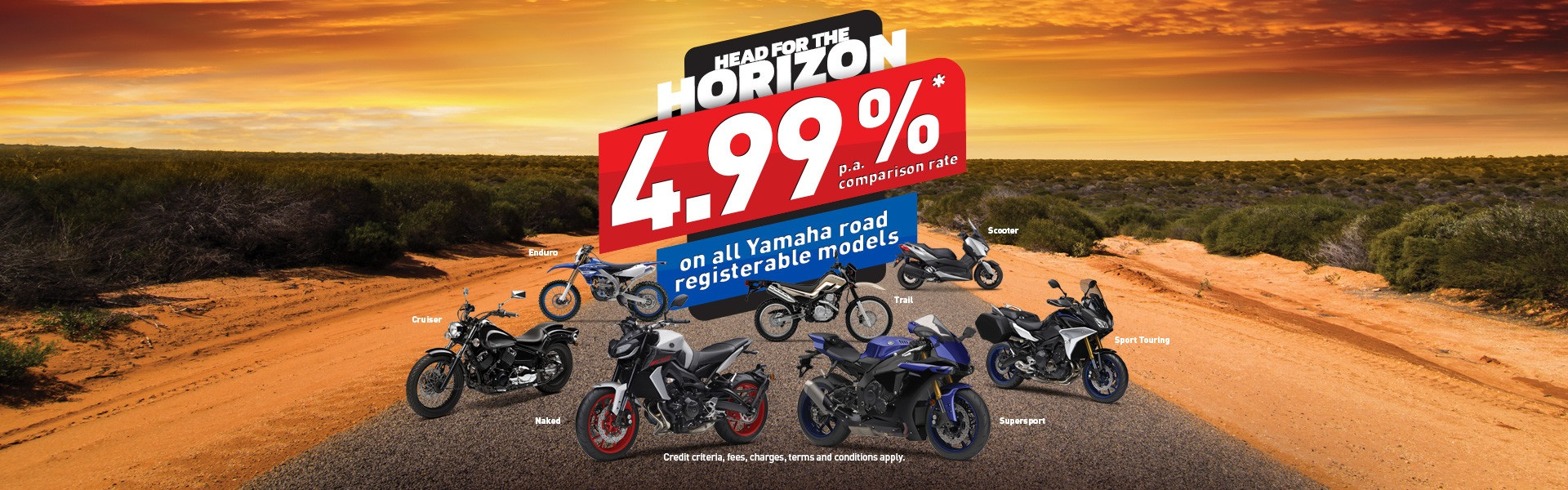 Yamaha motorcycle models on a poster.