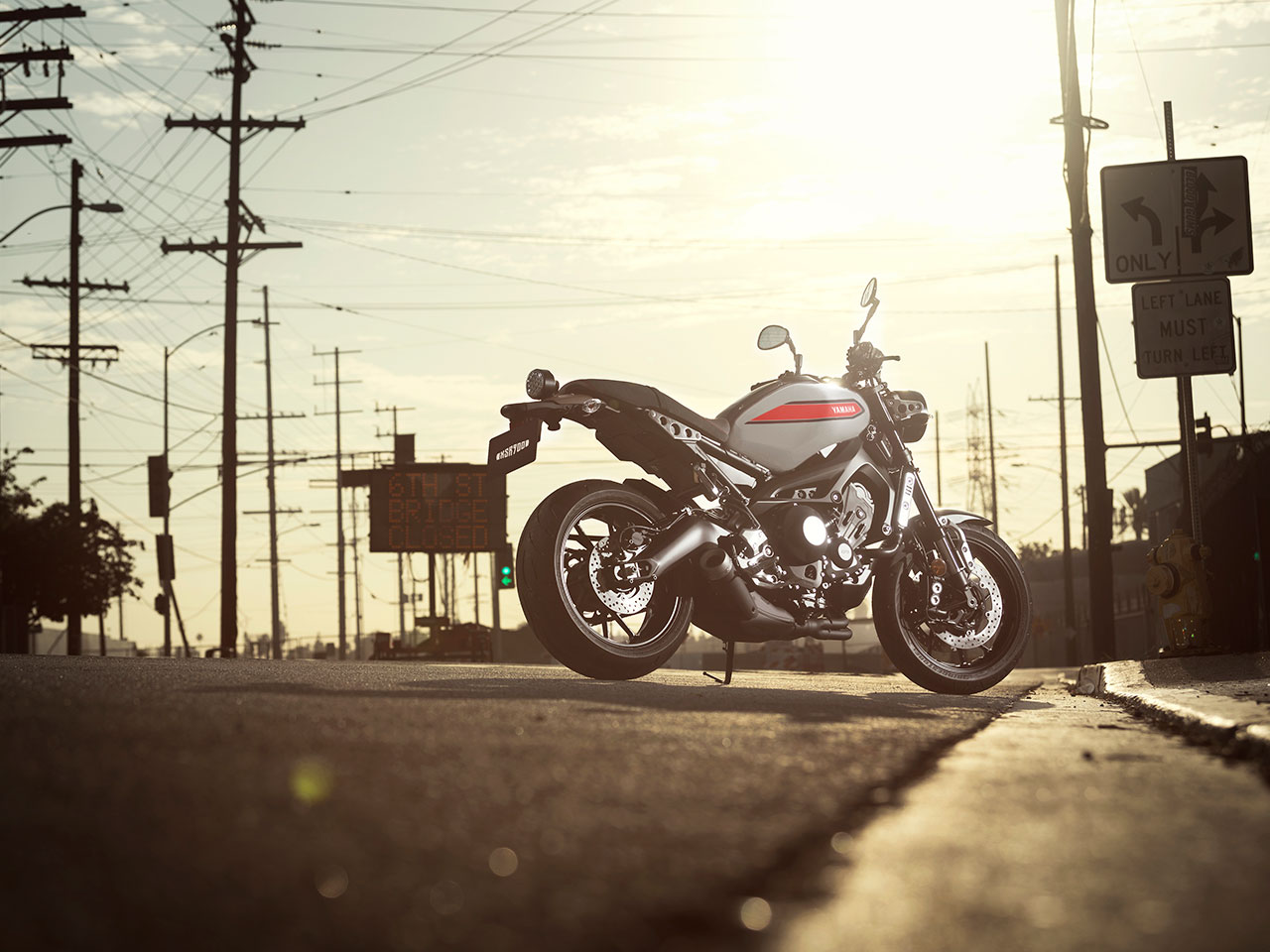 Yamaha XSR900 motorcycle parked on the road